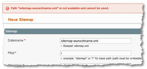 magento create sitemap path is not available and cannot be used