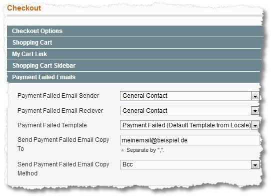 Magento – Payment failed / Zahlung fehlgeschlagen Mails deaktivieren